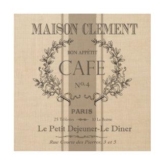 modern vintage french cafe wood print