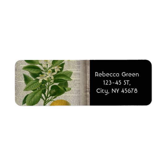 modern vintage french country botanical art orange return address label