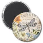 modern vintage french dragonfly 6 cm round magnet