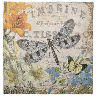modern vintage french dragonfly napkin