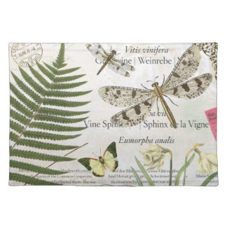 modern vintage french dragonfly placemat