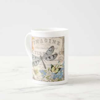 modern vintage french dragonfly tea cup