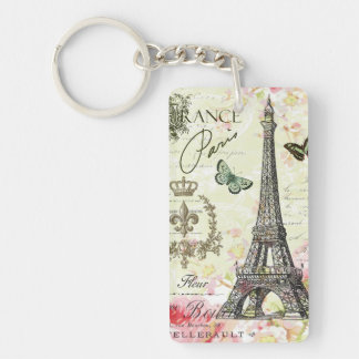 modern vintage french eiffel tower Double-Sided rectangular acrylic key ring