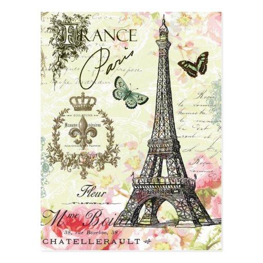 Vintage Eiffel Tower Postcard Vintage Paris Postcard