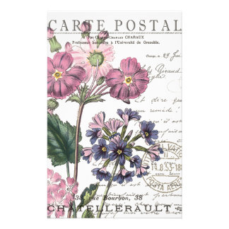 modern vintage french floral personalised stationery