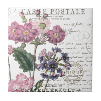 modern vintage french floral small square tile