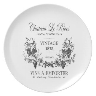 modern vintage french grain sac wine plate