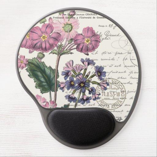 modern vintage french lavender floral gel mouse pad