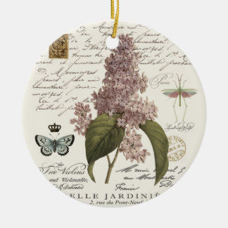 modern vintage French Lilacs Ceramic Ornament