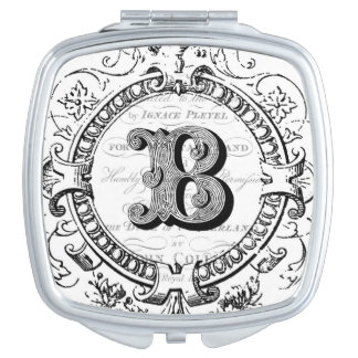 Modern Vintage French Monogram letter B Compact Mirrors