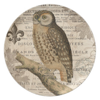 modern vintage french owl plate