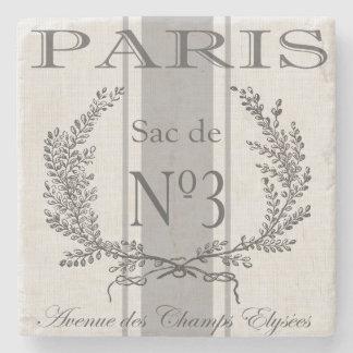 modern vintage french Paris grain sac Stone Beverage Coaster