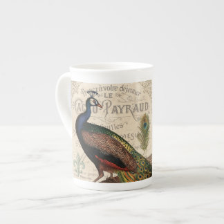 modern vintage french peacock tea cup