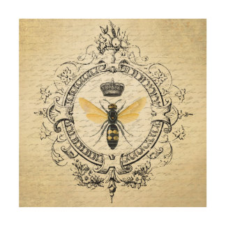 modern vintage french queen bee wood wall decor
