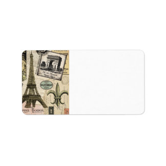 Modern Vintage French travel collage Address Label