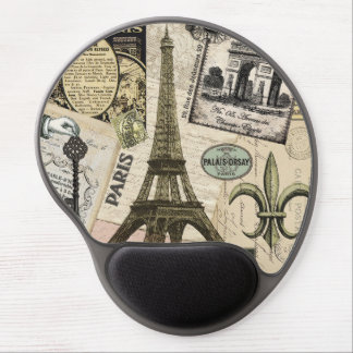 Modern Vintage French travel collage Gel Mouse Pad