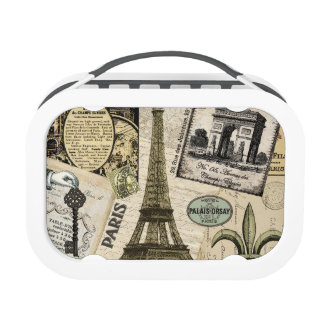 Modern Vintage French travel collage Lunch Box