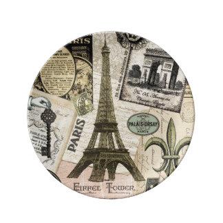 Modern Vintage French travel collage Porcelain Plates