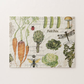 modern vintage french vegetable garden jigsaw puzzles