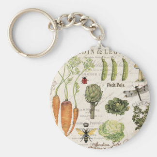 modern vintage french vegetable garden key ring