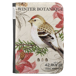 modern vintage french winter bird kindle 3 covers