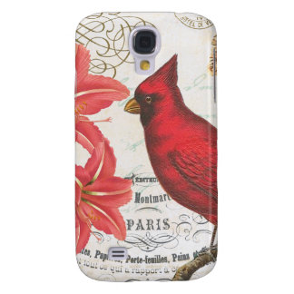 modern vintage french winter cardinal galaxy s4 covers
