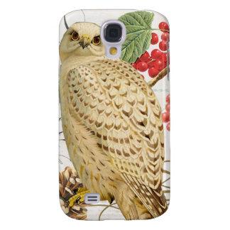 modern vintage french winter owl galaxy s4 case