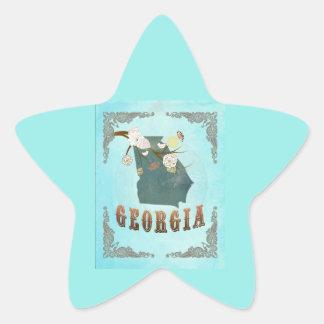 Modern Vintage Georgia State Map – Aqua Blue Star Sticker