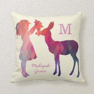 Modern Vintage Girl and Deer Monogram Throw Pillow Cushion