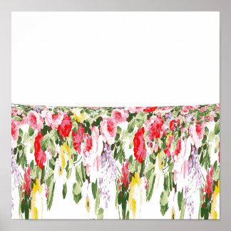 Modern vintage girly pink bright floral pattern poster