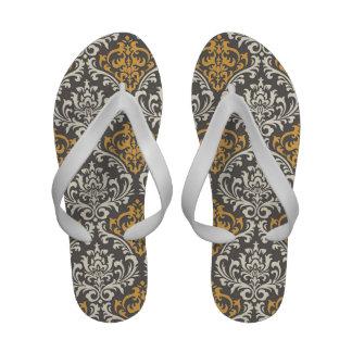 modern vintage grey and yellow damask Flip-Flops