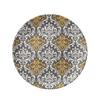 modern vintage grey and yellow damask plate