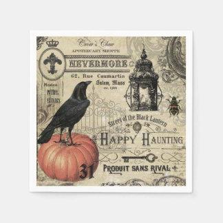 modern vintage Halloween crow and pumpkin Disposable Serviettes