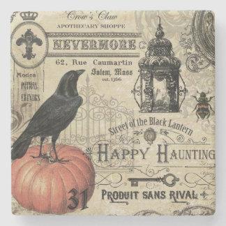 modern vintage Halloween crow and pumpkin Stone Coaster
