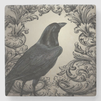 modern vintage halloween crow stone beverage coaster