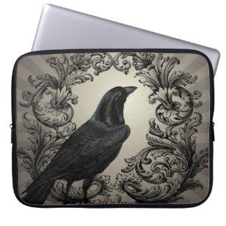 modern vintage halloween crow laptop computer sleeves