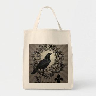 modern vintage halloween crow tote bags