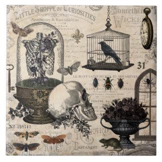 Modern Vintage Halloween Garden Ceramic Tile