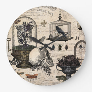 Modern Vintage Halloween Garden Large Clock