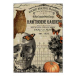 Modern vintage Halloween owl and skull Greeting Card