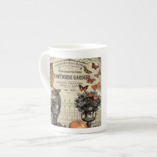 Modern vintage Halloween owl and skull Tea Cup