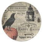 modern vintage halloween pumpkin and crow plate