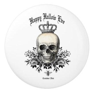 Modern Vintage Halloween skull and crown Ceramic Knob