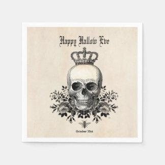 Modern Vintage Halloween skull and crown Disposable Serviettes