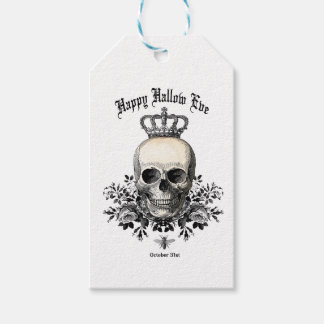 Modern Vintage Halloween skull and crown Gift Tags