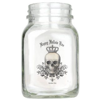 Modern Vintage Halloween skull and crown Mason Jar