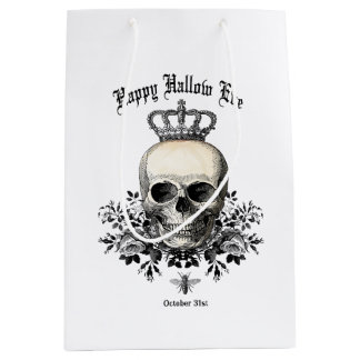 Modern Vintage Halloween skull and crown Medium Gift Bag