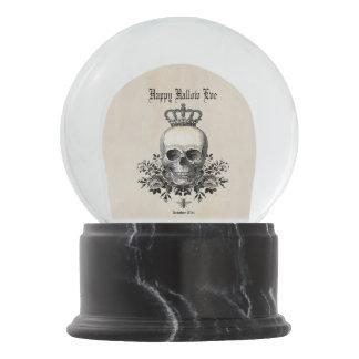 Modern Vintage Halloween skull and crown Snow Globe