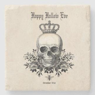 Modern Vintage Halloween skull and crown Stone Coaster