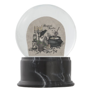 Modern vintage Halloween skull Snow Globe